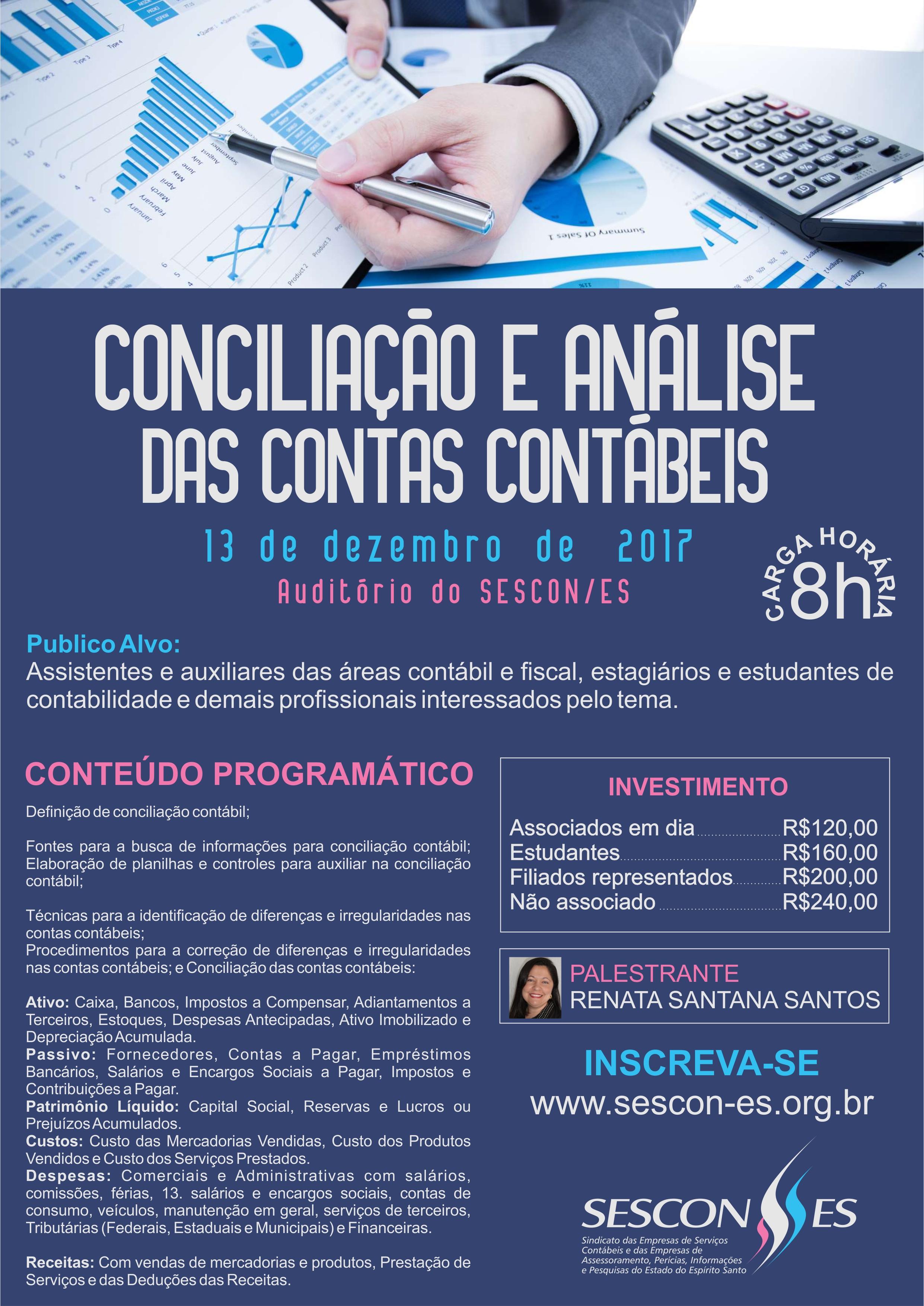 Curso - Conciliação e Análise das Contas Contábeis - 8 pontos no PEC @ SESCON ESPIRITO SANTO | Espírito Santo | Brasil